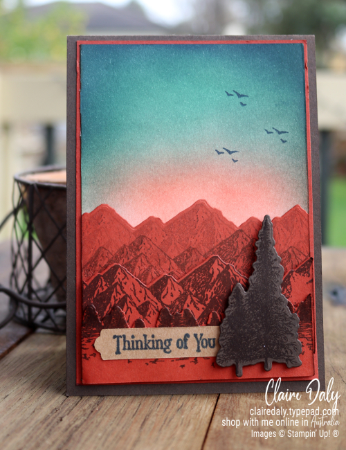 Masculine Thinking of You card using Stampin Up Mountain Air and Ink Blending Technique. Card by Claire Daly Stampin Up Demonstrator Melbourne Australia
