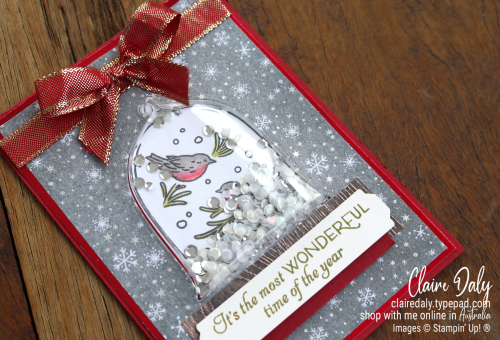 Stampin Up Classic Cloche 2021 Christmas shaker card by Claire Daly, Stampin' Up! Demonstrator Melbourne Australia.