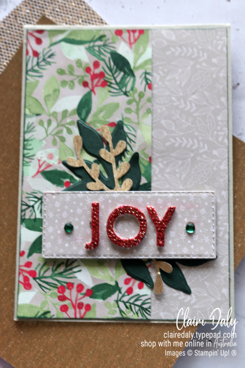 Stampin Up Be Dazzling Specialty Paper 2021 Christmas card by Claire Daly, Stampin Up demonstrator Melbourne Australia.
